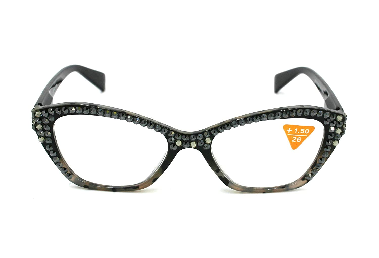 Retro Cat eyes Women Reading Glasses W/Full Top Hematite & Black Diamond Swarovski Crystals +1.50, 2.00, 2.50, 3.00 Black Tortoise