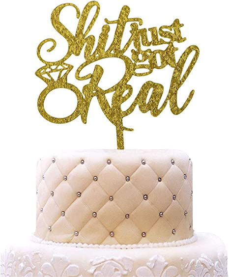 Engaged cake topper acrylic engagement wedding bride to be party glitter gold