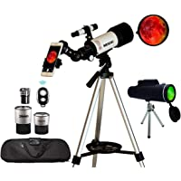 Astronomical Telescopes + Monocular Travel Scope 70mm Aperture 400mm AZ Mount Astronomical Refractor Telescopes for Kids…