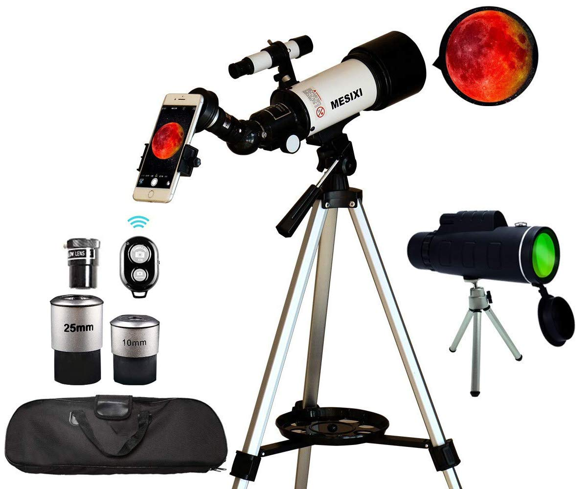 MESIXI Astronomical Telescope + Monocular Travel Scope 70mm Aperture 400mm AZ Mount Astronomical Refractor Telescopes for Kids Adults Beginners - Portable Bag, Smartphone Adapter, Camera Remote by MESIXI
