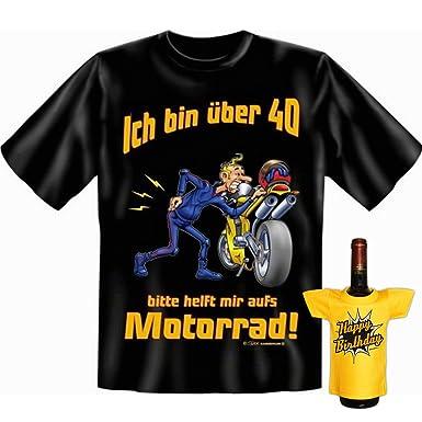 GoodmanDesign Geschenk Set zum 40. Geburtstag Motorradfahrer T-Shirt …helft  mir aufs Motorrad