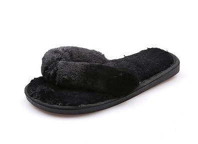 Huaishu Neue Plüsch Ziehen Winter Wohnung mit Wilden Runden Niedlichen Hausschuhe Schuhe Casual (Color : Black, Size : US7.5/EU38/UK5.5/CN38)