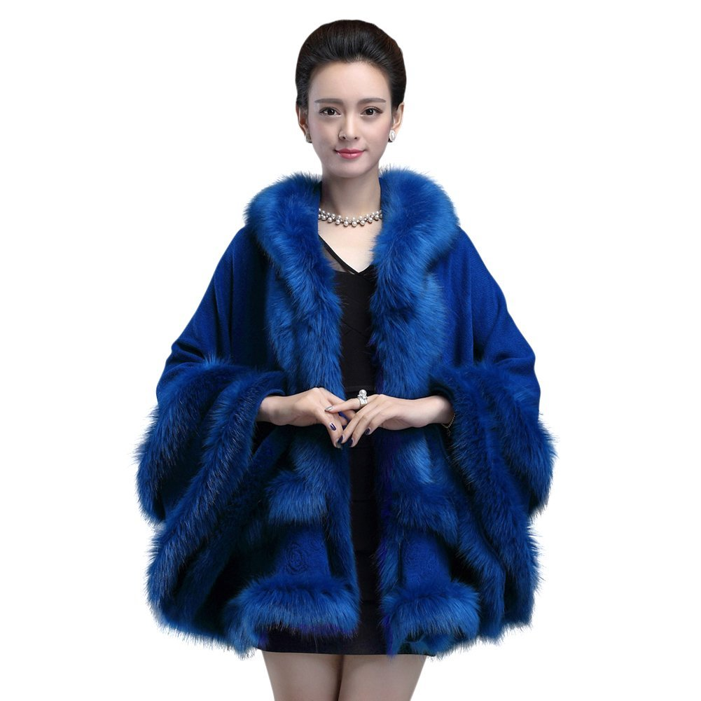 bluee Genda 2Archer Women's Faux Fur Sweater Poncho Cape with Hoodie (Deep Red)