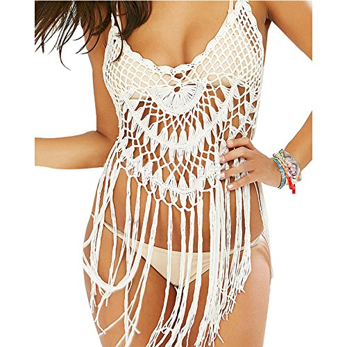 White Crocheted Lace - shermie Women's Halter Crochet Lace Swimsuit Cover Ups with Tassels Beach Wear White S
