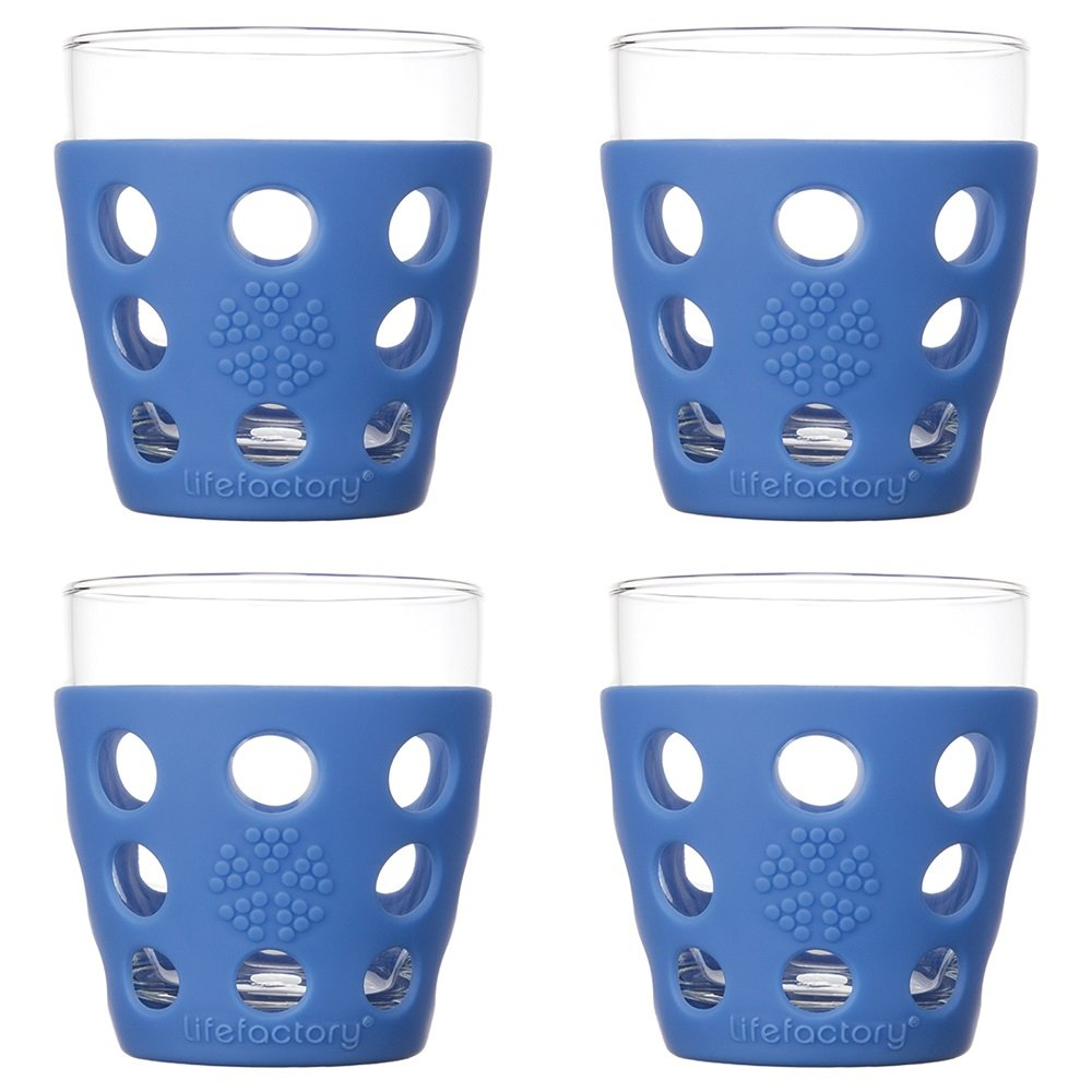 Cobalt Lifefactory LF330146C4 10-Ounce BPA-Free Indoor//Outdoor Glassware with Protective Silicone Sleeve, 4-Pack