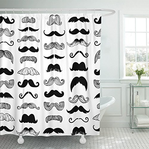 Emvency Shower Curtain Black Beard Vintage Style Moustaches Doodle Hair Waterproof Polyester Fabric 72 x 72 inches Set with -