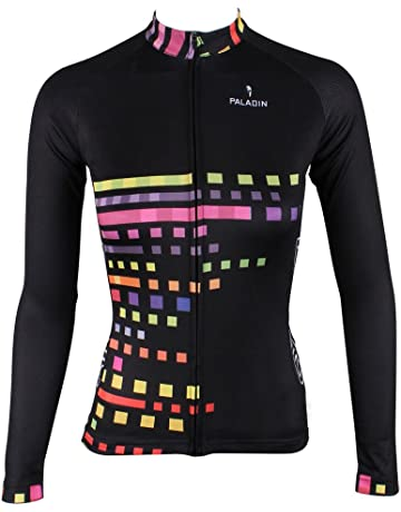 20a7a432f KMFEEL Multicolored Lattice Zipper Closure Women Long Sleeve Cycling Jersey