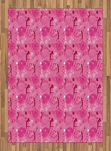 7.5' Center Panel (Paris Area Rug by Ambesonne, Flying Elves Eros Love Town Center of Romance Magic City Valentines Day Concept, Flat Woven Accent Rug for Living Room Bedroom Dining Room, 5.2 x 7.5 FT, Magenta Fuchsia)