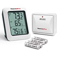 ThermoPro TP60 Digital Hygrometer Indoor Outdoor Thermometer Humidity Monitor with Temperature Gauge Humidity Meter…