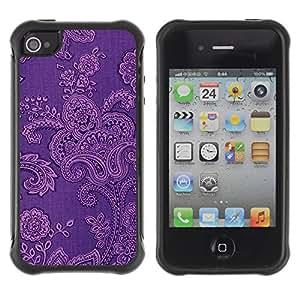 Híbridos estuche rígido plástico de protección con soporte para el Apple iPhone 4 / 4S - wallpaper fabric floral pattern