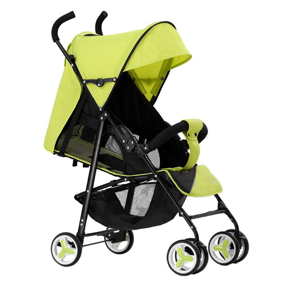 ベビーカー、横たわっていることができます折りたたみ式折りたたみ式軽量ベビーカーを折りたたむことができます、平面を取ることができます、ワンステップ折りたたみ、0-36ヶ月の赤ちゃんに適した  Green B07N7CL77X
