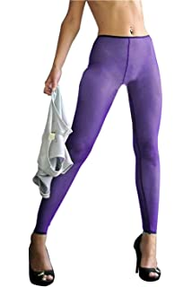 de2846400d6 Agoky Women s Nylon Mesh Sheer See-Through Leggings Footless ...