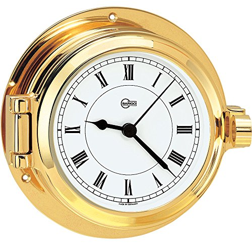 BARIGO Poseidon Series Porthole Quartz Ship's Clock - Brass Housing [1327MS]