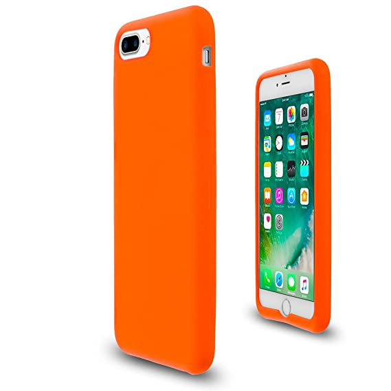 sports shoes 903b3 b0d17 Orange Soft Silicone Rubber Case Flexible Skin Jelly Cover for iPhone 7 + 8  Plus