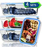 [4 Pack]Glass Meal Prep Containers with Lid Airtight Food Storage Containers-Microwave,Oven and Freezer Safe Bento Boxes-Portion Control Glass Lunch Continers Food Container