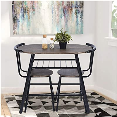 Buy Greenforest 3 Piece Dining Table And Chairs Set Modern Breakfast Table Sets Rustic Bistro Dining Set Bar Pub Table Sets Restaurant Kitchen Table Set 3 Pieces Online In Germany B07jcy74hj