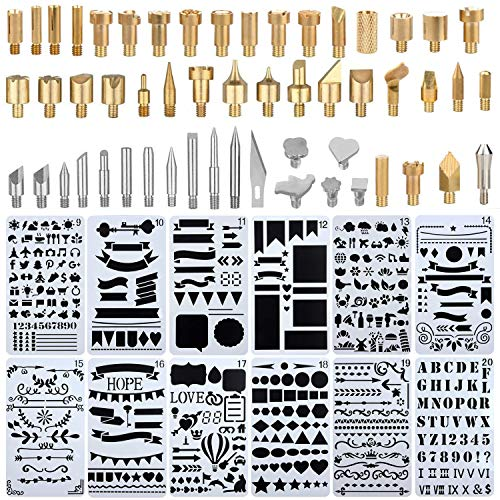 Pannow 65 Pcs Wood Burning Kit,Professional Soldering Iron Tips and DIY Drawing Template Carving Engraving Craft Tools for Woodworking, Leather