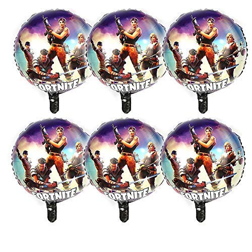 6 PCS Kids'Gaming Balloons Decoration, Merssyria 18'' Fort-nite Party Supplies Balloons Set Foil Balloons Birthday Party Supplies Bundle