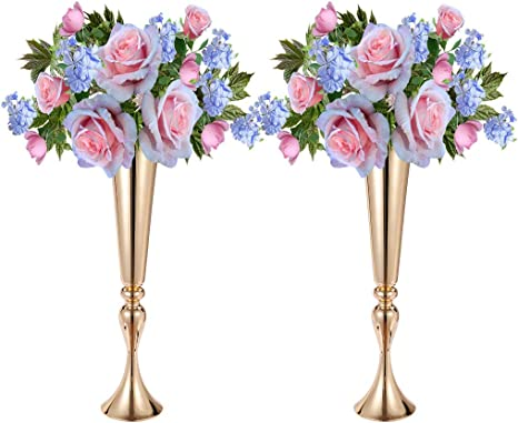 Amazon Com Anferstore 21 9inch 2pcs Metal Candle Holders Modern Lantern Romantic Flower Vase For Dining Table Decorations Wedding Centerpieces House Gifts Gold Home Kitchen