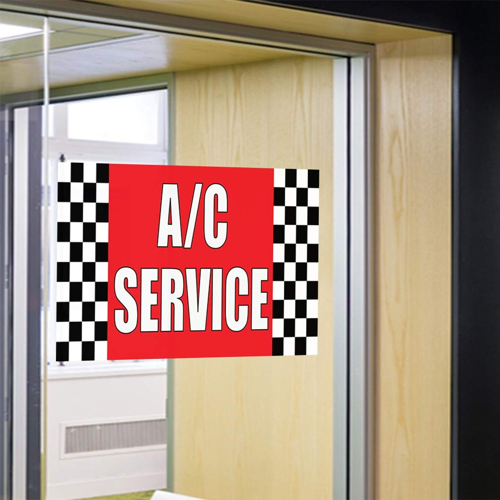 Multiple Sizes Available Set of 2 28inx70in 4 Grommets Vinyl Banner Sign Air Conditioning Service /& Repair #1 Marketing Advertising White