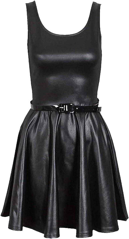 VR17 Damen Wetlook Langärmlig PVC Leder Kleid Damen Enganliegende Tunika Top  Größe 17-17