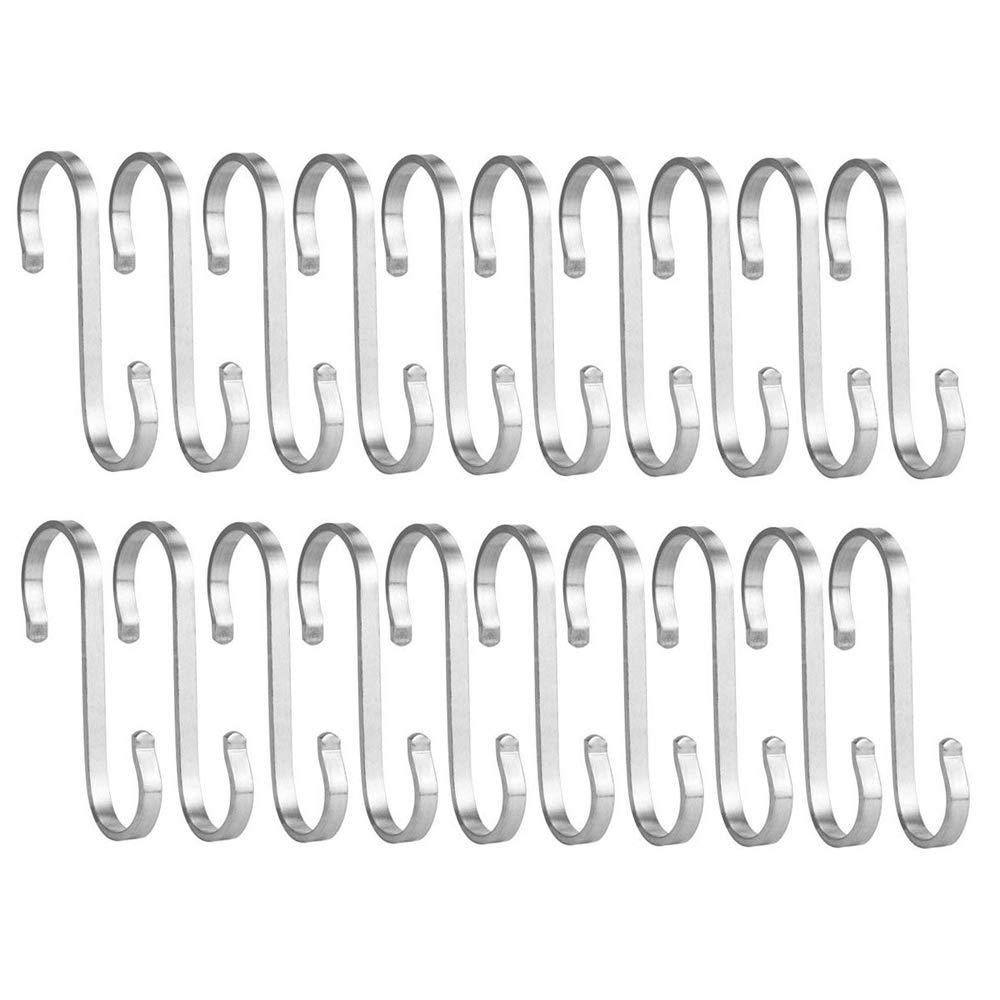 Bosszi 20pcs S Shaped Hanging Hooks, Brushed Stainless Steel Scarf Kitchen Hooks for Bathroom Bedroom Office (Medium)