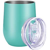 12 oz Wine Tumbler (Laser Rainbow Color and Slidable Lid) Vacuum Insulated Stainless Steel Wine Glass for Wine Coffee Cocktails - Keeping Cold 9-Hour and Hot 3-Hour