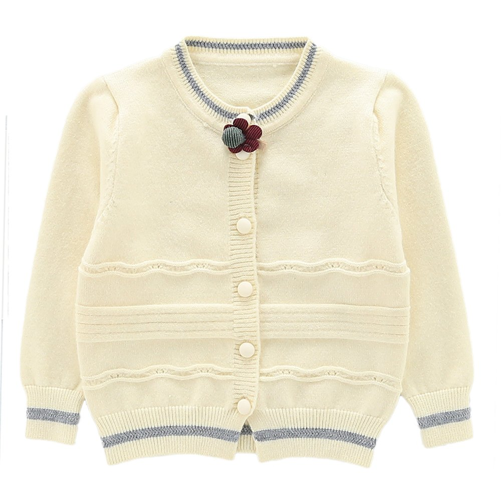 Moonnut Girls Cardigan Sweaters Basic Solid Color Long Sleeve Knitted Outwear (3T, White)