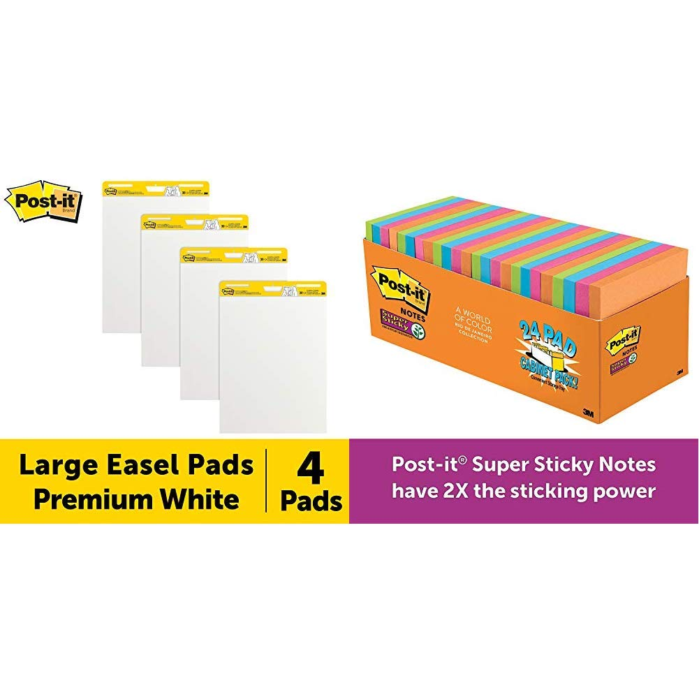 Post-It Super Sticky Easel Pad, 25 x 30 Inches, 30 Sheets/Pad, 4 Pads & Super Sticky Notes, Rio de Janeiro Colors, Large Pack, 3 in x 3 in, 24 Pads/Pack, 70 Sheets/Pad by Post-it