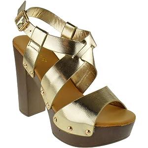 aa0bfccfdcf Amazon.com | Top Moda Toby 3 Womens Cross Strap Open Toe Chunky Heel ...