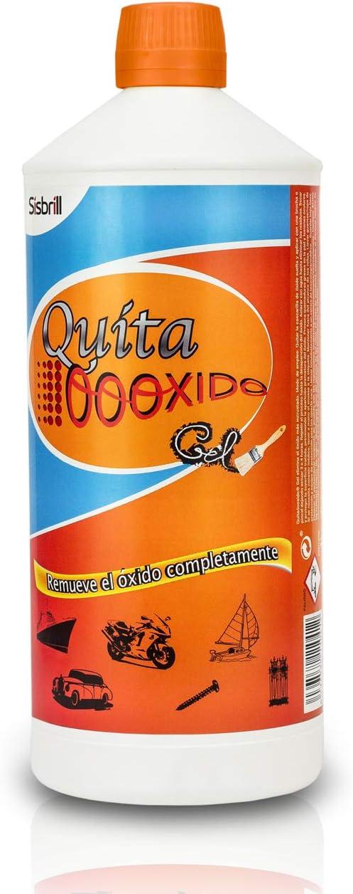 Sisbrill QuitaOooxido Gel Eliminador Óxido y Manchas Oxidación - Tratamiento de Coches, Motos, Náutica, Suelo y todo tipo de Metales - 1 Litro