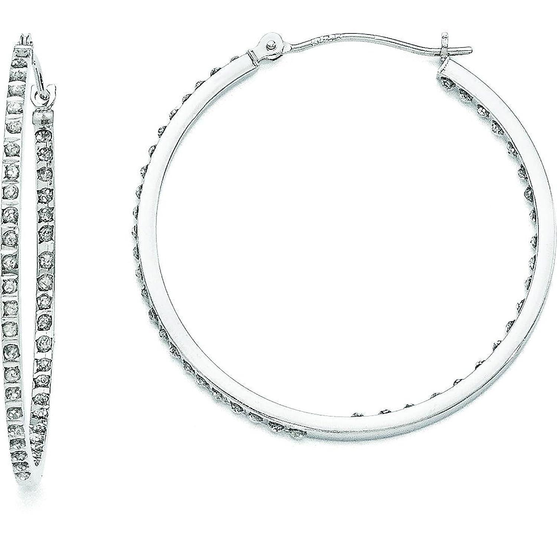 Amazon 14K White Gold IJ Diamond Hoop Earrings Jewelry