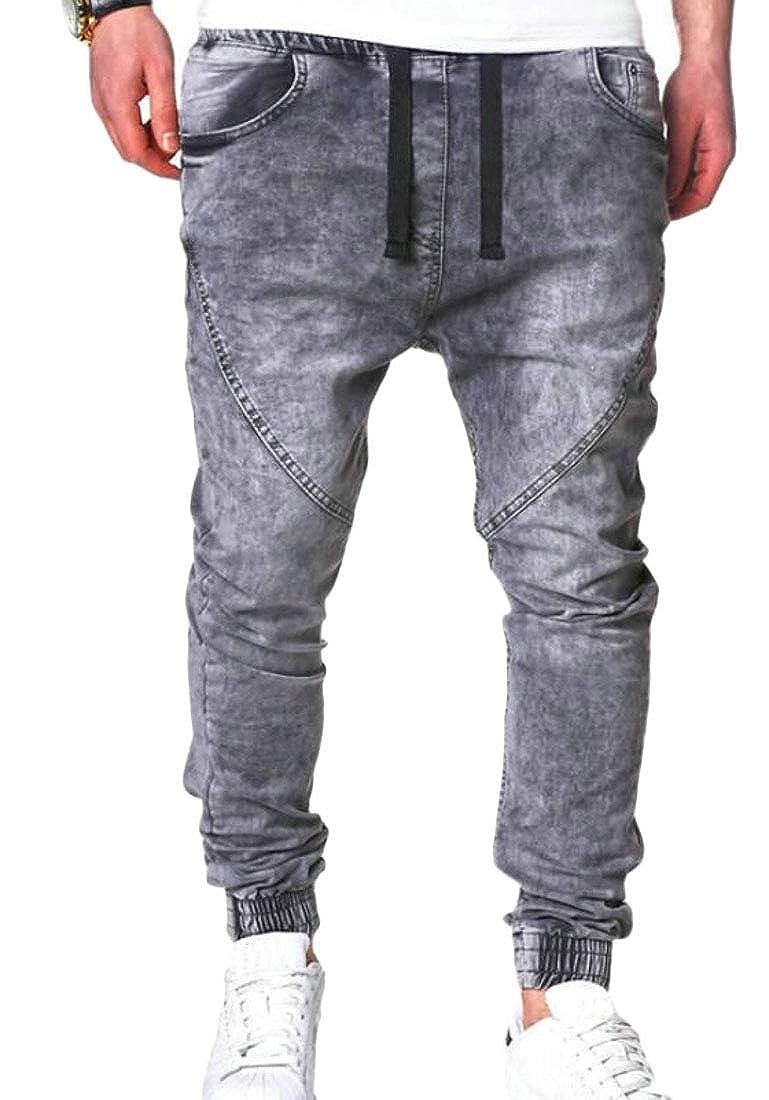Domple Mens Elastic Waist Jogger Drawstring Fashion Denim Washed Long Pants