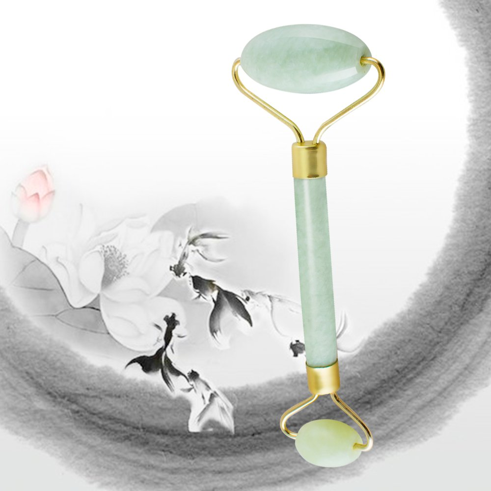 Denshine Jade Roller Massager Anti Aging 100% Natural Jade Roller for Face Skin Neck Eye Body Jade Stone Facial Roller