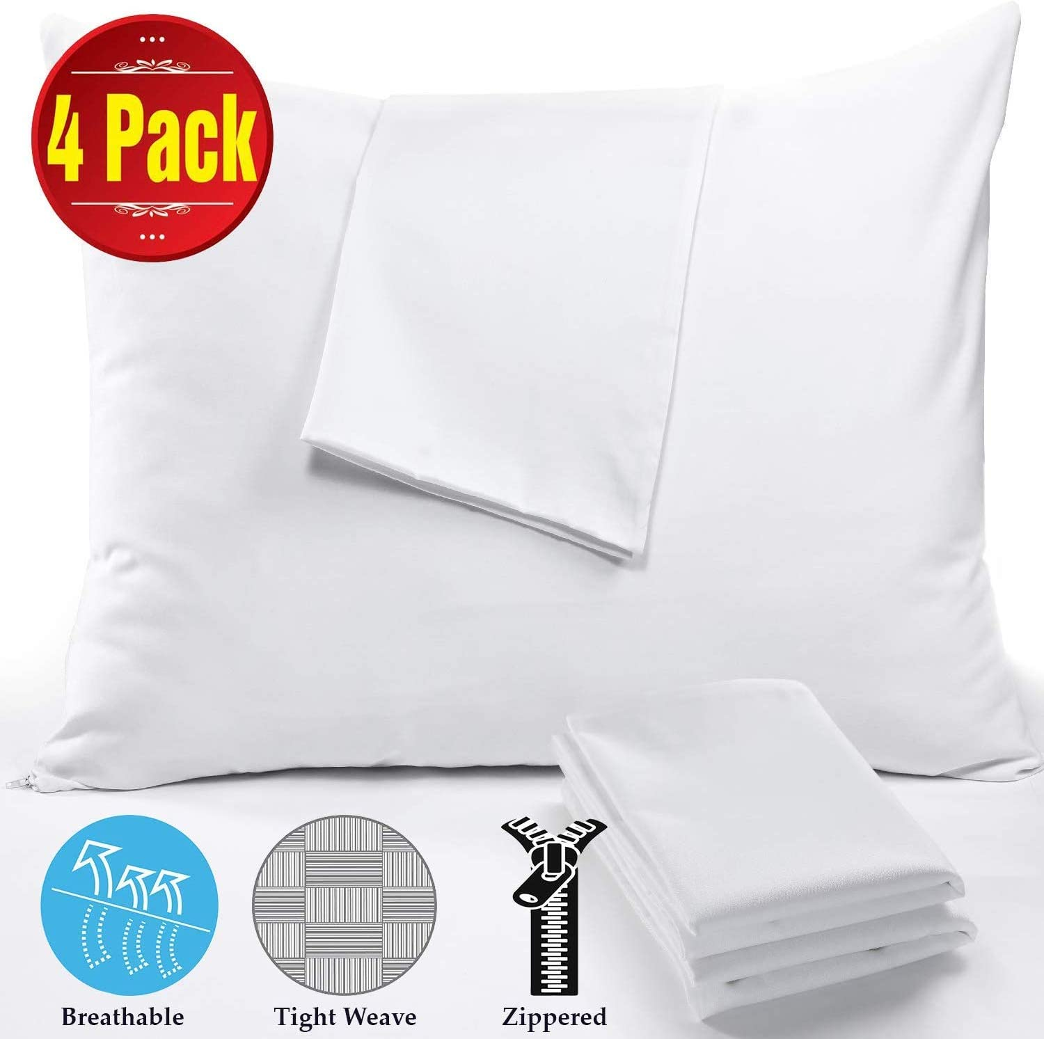 """4Pack 100% Cotton Pillow Protectors Standard Anti Allergy 20x26"""" 450 Thread Count Style ❤ Life Time Replacement❤ Premium Cotton Sateen Tight Weave Lab Tested Non Noisy Zippered Covers Breathable"""