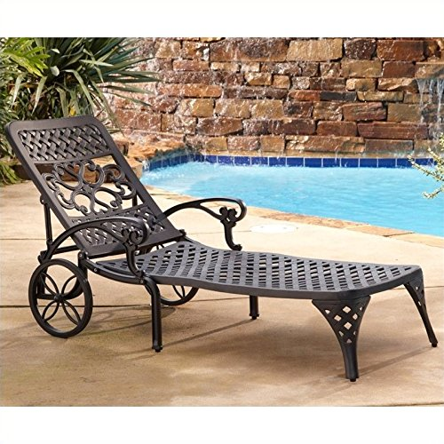 Home Styles Biscayne Chaise Lounge Chair, Black (Furniture Cast Black Patio Aluminum)