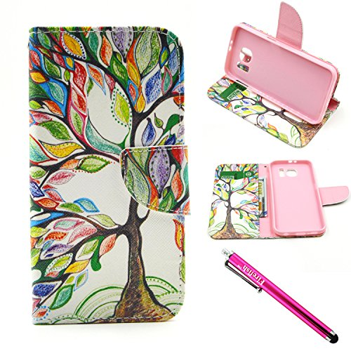 Galaxy Note 5 Case, Firefish Samsung Note 5 Case [Bumper] [Kickstand] PU Leather Wallet with TPU Double Protection Flap Cover for Samsung Galaxy Note 5 - Color Tree