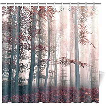 Amazon InterestPrint Fall Woodland Shower Curtain