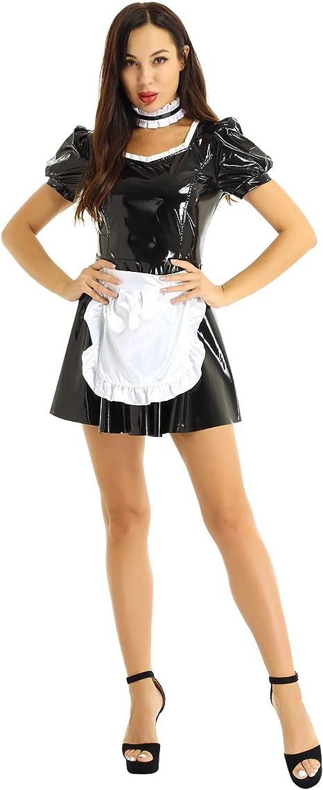 YiZYiF Disfraz Criada Mucama Sexy Mujer Mini Vestido 3Pcs Traje ...