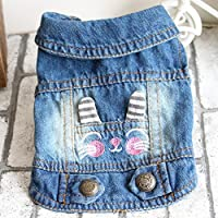 Zerotone Summer Spring Cute Embroidered Cartoon Animaux Lapel Denim Coat Vest for Small Pet Dog Cat 2 Styles XS-XXL