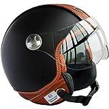 Peda Italian Design (Moca B) ECE DOT Motorcycle Helmet Vintage style en cuir pour Vespa, Unisexe Open Face ITALIE Jet Sport Urban Cascos Capacete, Half Helmet (L (59-60cm))