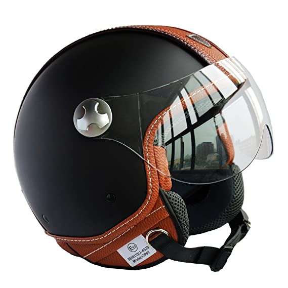 Amazon.es: Peda Diseño Italiano (Moca B) ECE punto del estilo del cuero de la motocicleta del casco de la vendimia para Vespa, unisex abierta de la cara ...