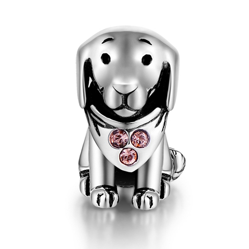 925 Sterling Silver Puppy Dog Animal Charms Bead Fit Pandora Bracelets for Dog Lover by GW