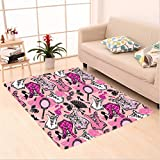 Nalahome Custom carpet ge Female Accessories Sexy Corset Perfume Bottles Shoes Lipstick Mirror Roses Pattern Pink Black area rugs for Living Dining Room Bedroom Hallway Office Carpet (6.5' X 10')