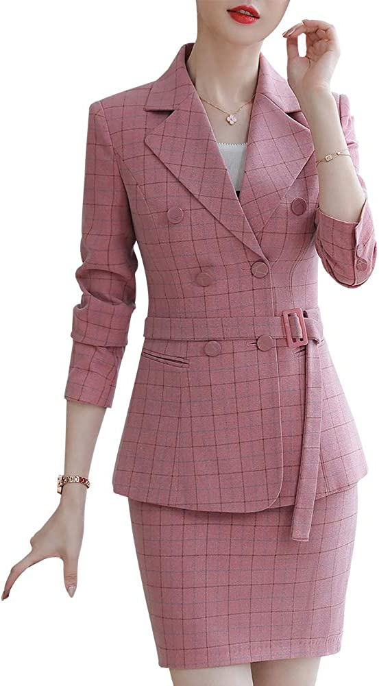 Women's Offce Lady Two Piece Plaid Blazer Set Double Breasted with Waistband Work Blazer Jacket Pant/Skirt Suit