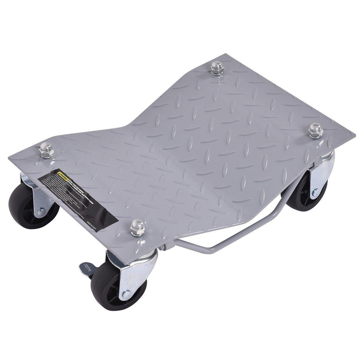 Goplus 4 PCS 4 X 3 Set Wheel Dollies Dolly Tire Skates Vehicle Car Auto Repair Moving Diamond Gray