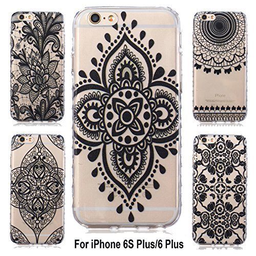 iPhone 6S Plus Case, Sophia Shop Ultra [Thin Slim] Flexible Soft TPU Extra Grip Anti-Scratch Protective Transparent Border Back Cover For Apple iPhone 6 Plus /6s Plus(5 Pack Black Series)