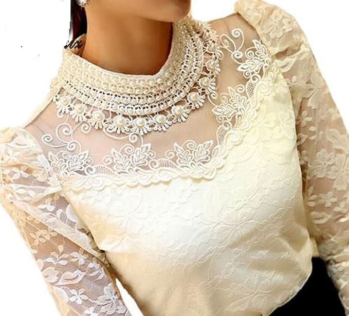 1ba57a3e03ffaf AL001 Beige/Cream Elegant Long Sleeve Beaded Women Lace Blouse Shirts  Crochet Tops Mesh Chiffon