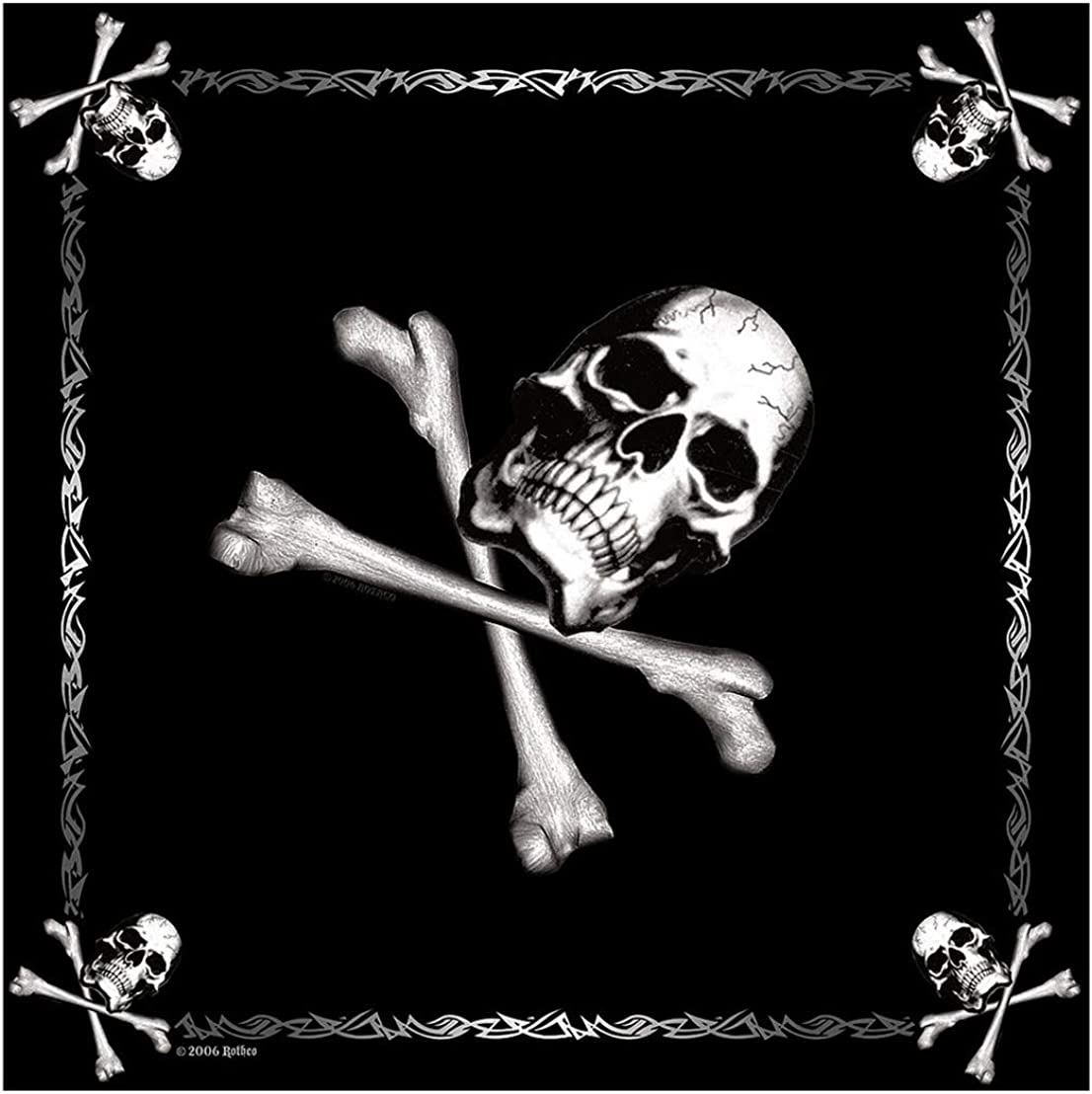 """Rothco Camo Bandana - 22"""" X 22"""" (Jolly Roger, One Size): Military Apparel Accessories: Clothing"""