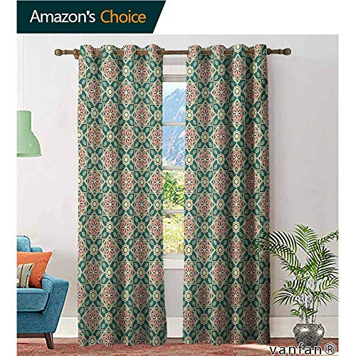 Big datastore Children Bedroom Curtains,EasternVintage Mosaic Design of Florets Zigzag Borders Oval Details,Pattern Custom Available,Forest Green Pale Pink Peach,W120 xL96